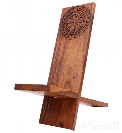 Wikinger Asatru Holzstuhl ~ THORA ~ h: 88 cm - Vegvesir mit Runen - Vikings Steckstuhl - Handarbeit aus Holz - Windalf.de