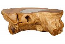 Couchtisch mit Glasplatte ~ DEAGOL ~ B: 140 cm H: 50 cm - Wohnzimmertisch - Handarbeit aus Holz - Windalf.de
