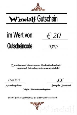 Windalf GESCHENKGUTSCHEIN im Wert von € 20 - Windalf.de