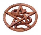 Pagan Pentagramm & Schlangen Holz Amulett ~ PENTARA ~ Ø 23 cm - Schutz- & Wunschsymbol - Wanddeko - Handarbeit - Windalf.de