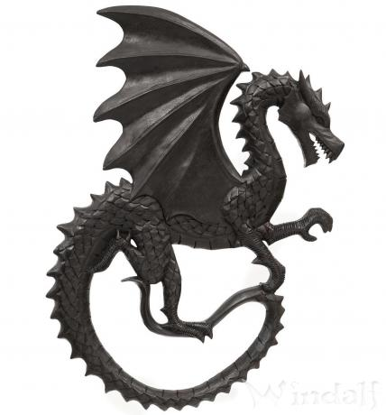 Schwarzer Drache ~ DROGON ~ Wanddeko - B: 37 cm H: 53 cm - Drachenbild - Nach rechts schauend - Handarbeit aus Holz - Windalf.de