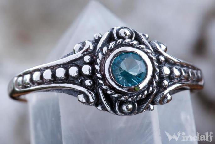 Asatru Damen Silberring ~ AMARA ~ h: 0.8 cm - Wikinger Schmuck Ring - Topaz Kristall - Vintage Silber - Windalf.de
