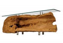 Historisches Sideboard ~ SÖREN ~ 148 cm - Lowboard mit Glas & geräumiger Ablage - Wohnzimmertisch - Unikat - Windalf.de