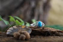 Bohemia Silberring Damen ~ LUCY ~ h: 0.9 cm - Elfen Ring mit Türkis - Glücks- & Freundschaftsring - Vintage Silber - Windalf.de