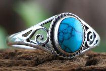 Bohemia Silberring Damen ~ LUCY ~ h: 0.9 cm - Elfen Ring mit Türkis - Glücks- & Freundschaftsring - Silber - Windalf.de