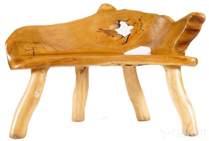 Kleine Sitzbank ~ PEREGRIN ~ 114 cm - Küchenbank - Vorraum Holzbank - Handarbeit aus Teak-Wurzelholz - Windalf.de