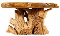 Natur Couchtisch ~ POSCO BEUTLIN ~ 98 cm - Hobbit-Style Wohnzimmertisch - Handarbeit aus Wurzelholz - Windalf.de