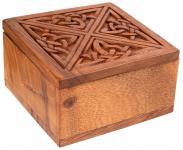 Celtic Irisches Schmuckkästchen ~ BRIGANTIA ~ 10 cm - Schmuckschatulle mit rotem Stoff - Geschenkdose - Handarbeit aus Holz - Windalf.de