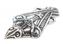 Wikinger Fibel ~ MUNIN ~ 5 cm - Odins Rabe - Vikings Brosche - Antik Silber - Windalf.de