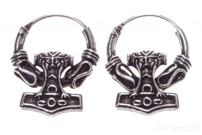 Wikinger-Creolen ~ THORS HAMMER ~ 2.2 cm - Vikings Ohrschmuck - Vintage Silber - Windalf.de