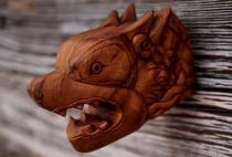 Asatru Wand Deko ~ CIRAS ~ 16 cm - Viking Fenris Wolf - Trophäe aus Holz - Windalf.de