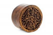 Wikinger Schmuckdose ~ MIDGARDSCHLANGE ~ Ø 9 cm - Vikings - Handarbeit aus Holz - Windalf.de